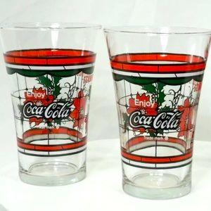Set of 2 Vintage Coca Cola Glass Tumblers